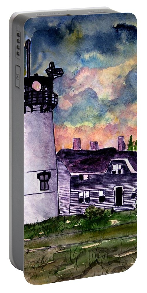 Lighthouse Portable Battery Charger featuring the painting Chatham Lighthouse Martha's Vineyard Massachuestts Cape Cod art by Derek Mccrea