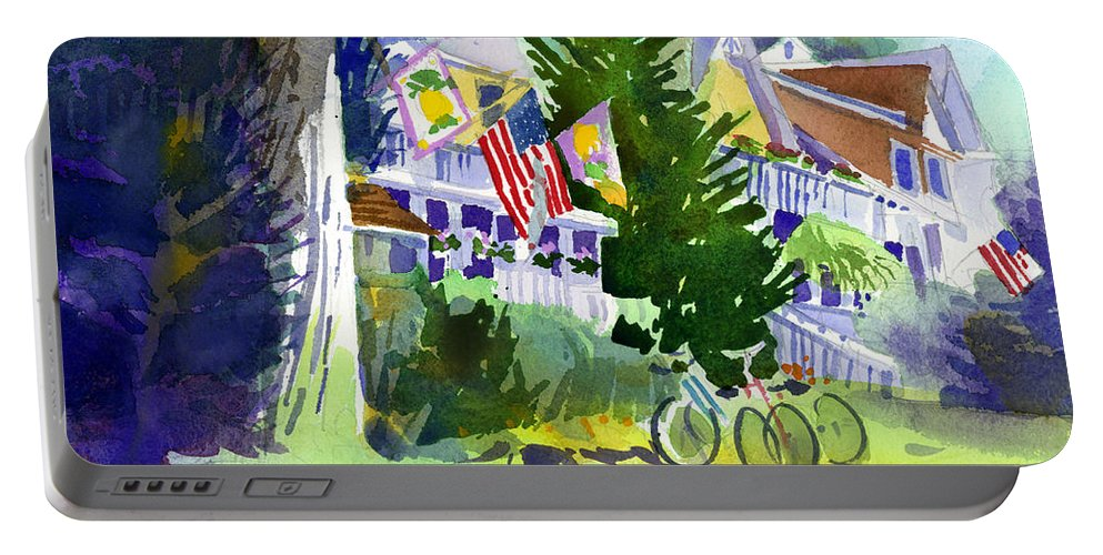 Chautauqua Institution Portable Battery Charger featuring the painting Chautauqua House by Lee Klingenberg
