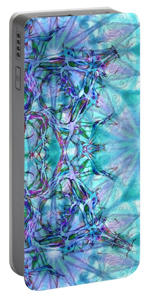 Chay Portable Battery Charger featuring the digital art Chay Is Alive-triptych Part 3 by Sandrine Kespi