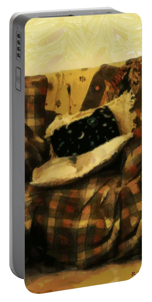 Armchair Portable Battery Charger featuring the painting Checks And Balances by RC DeWinter