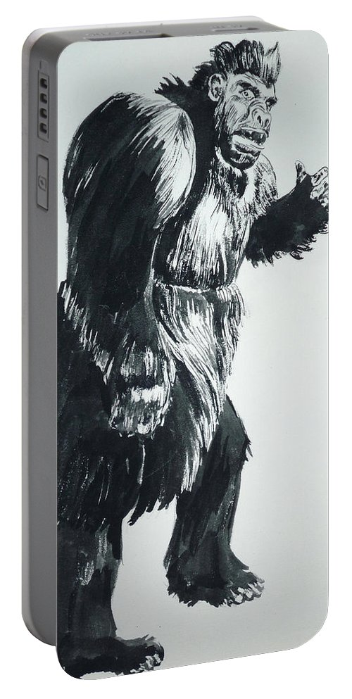 Monster Movies Portable Battery Charger featuring the painting Cheela Captive Wild Woman by Bryan Bustard