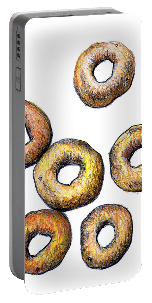 Cheerios Portable Battery Charger featuring the drawing Cheerios 2 by Nancy Mueller