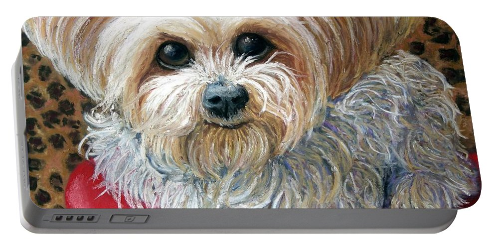 Dog Portable Battery Charger featuring the painting My Friend by Minaz Jantz