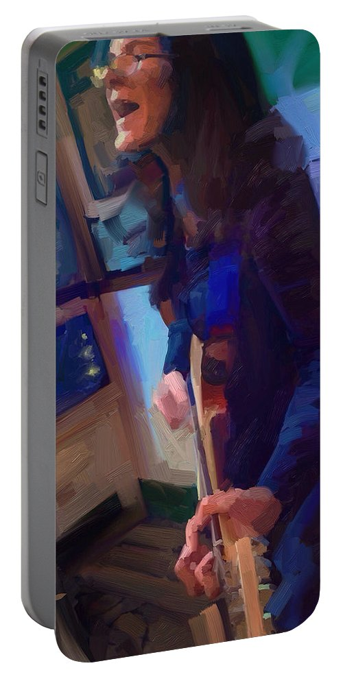 Chelsea Saddler Music Musician St. Augustine Painting Portrait Guitar Portable Battery Charger featuring the digital art Chelsea by Scott Waters