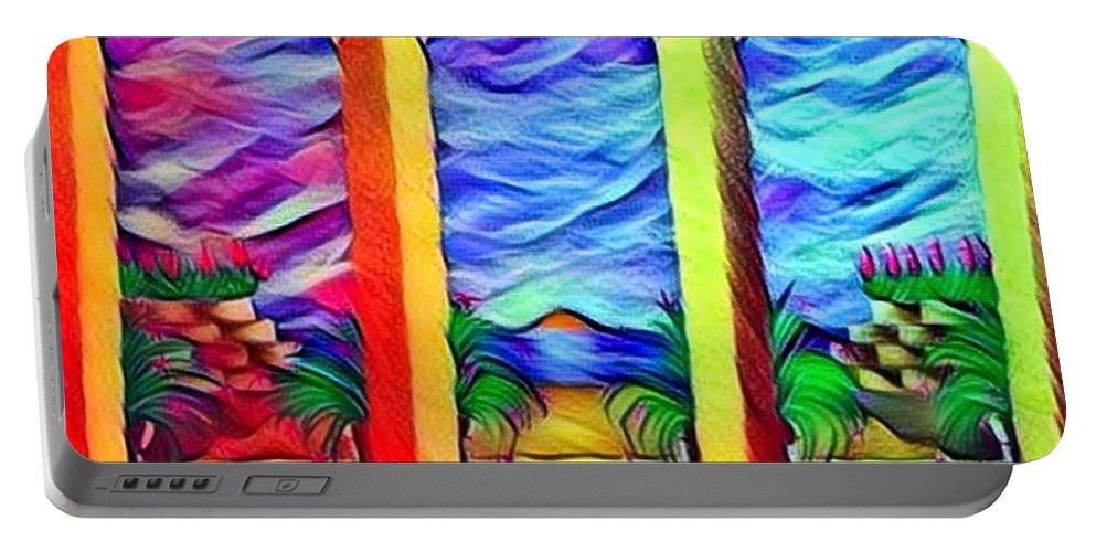 Original Breena Briggeman Acrylic Painting Digital Photography Sunrise Sunset Nature Sky Landscapes Seascapes Rainbow Blue Purple Yellow Green Flowers Floral Sky Arches Whimsical Paradise Portable Battery Charger featuring the digital art Cherish The Day by Breena Briggeman