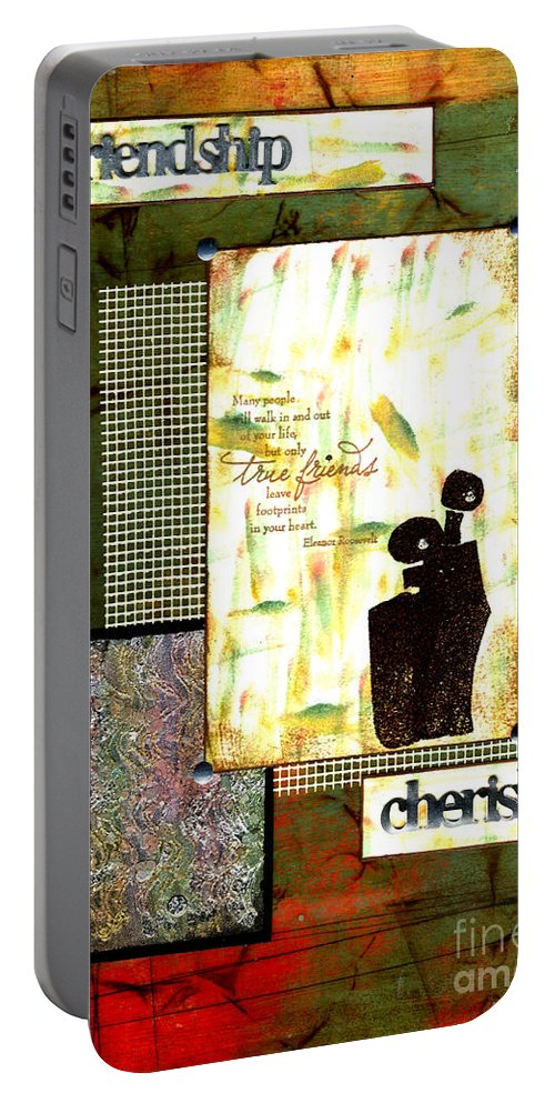 Wood Portable Battery Charger featuring the mixed media Cherished Friends by Angela L Walker