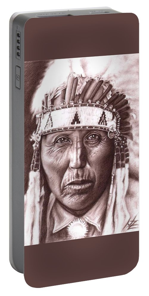 Indian Portable Battery Charger featuring the drawing Cherokee by Nicole Zeug