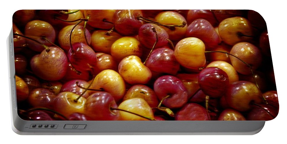 Red Portable Battery Charger featuring the photograph Cherries by Bill Howard