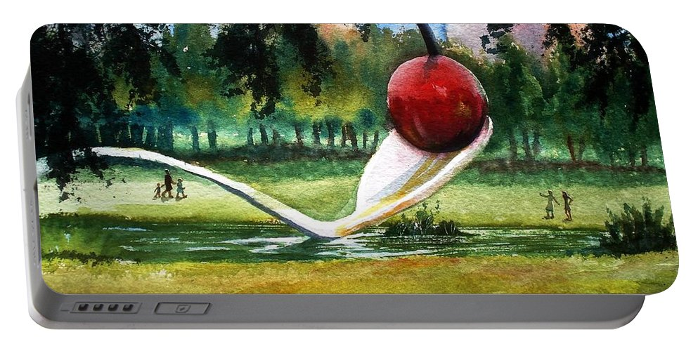 Cherry & Spoon Portable Battery Charger featuring the painting Cherry And Spoon by Marilyn Jacobson