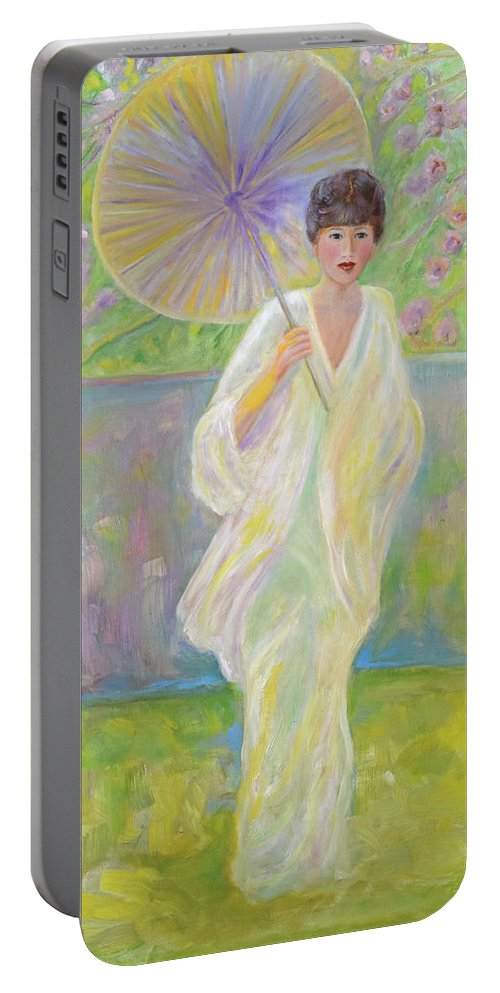 Japanese Portable Battery Charger featuring the painting Cherry Blossom Time by Verlaine Crawford