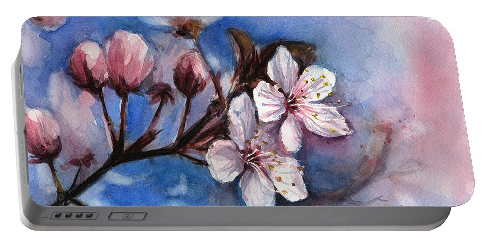 Spring Portable Battery Charger featuring the painting Cherry Blossoms by Olga Shvartsur