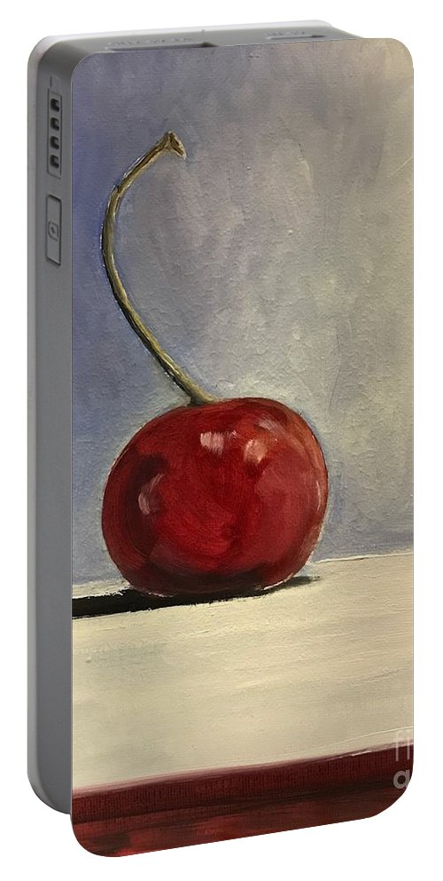 Cherry Portable Battery Charger featuring the painting Cherry by Boni Arendt