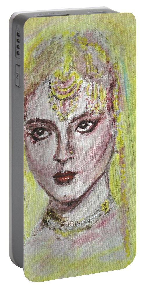 Bollywood Portable Battery Charger featuring the painting Cherry Lips by Usha Shantharam