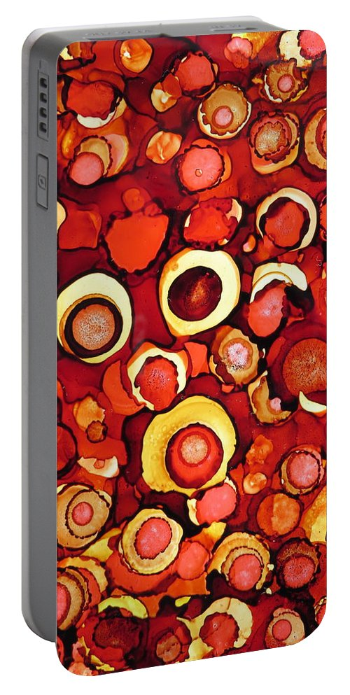 Cherry Portable Battery Charger featuring the painting Cherry Tarts by Tammy Finnegan