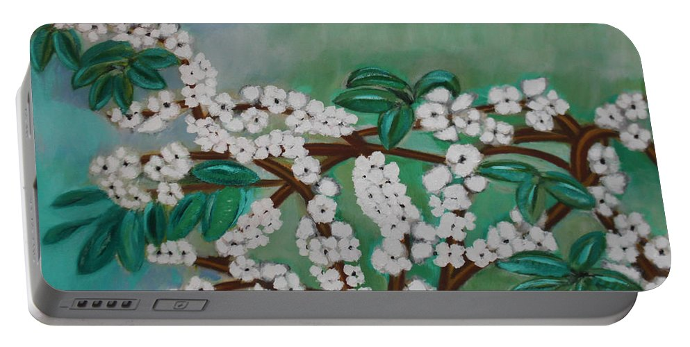 Cherry Tree Portable Battery Charger featuring the painting Cherry Tree Rich In Flowers by BERANIC Lovro