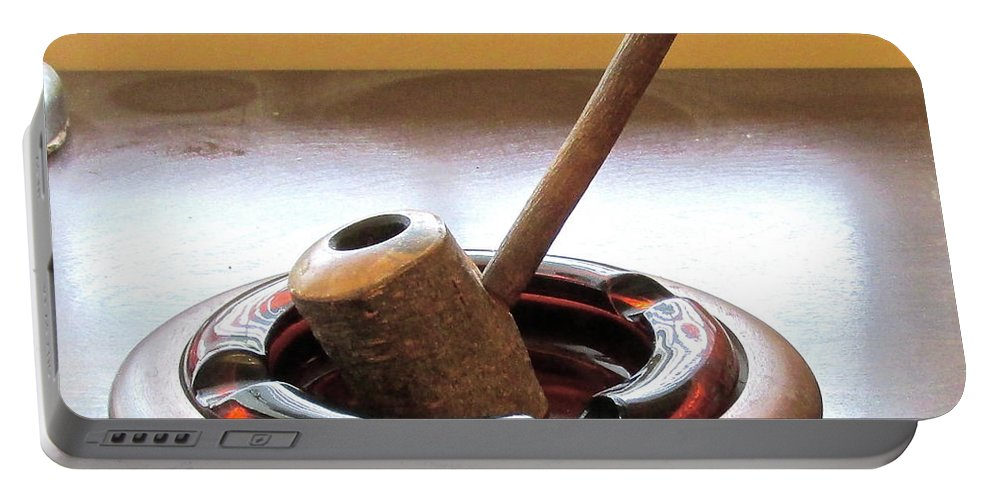Rustic Portable Battery Charger featuring the photograph Cherrywood Freehand Pipe by David Rubinstein