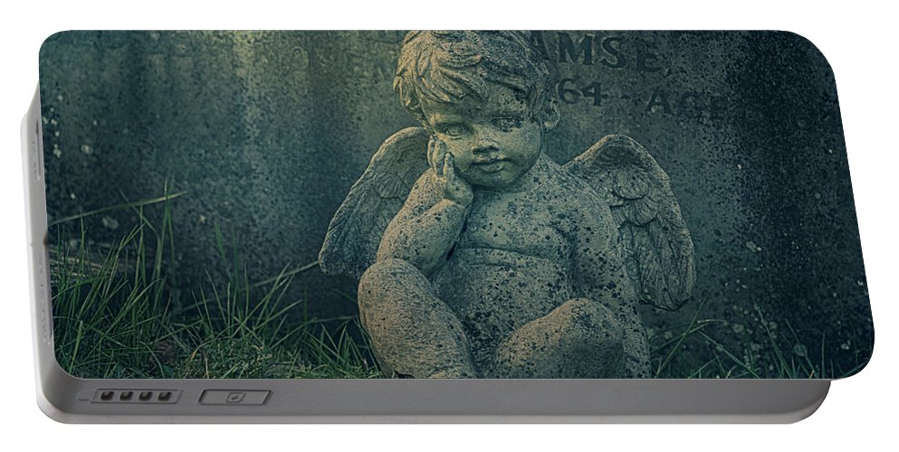 Anglican Portable Battery Charger featuring the photograph Cherub Lost In Thoughts by Monika Tymanowska
