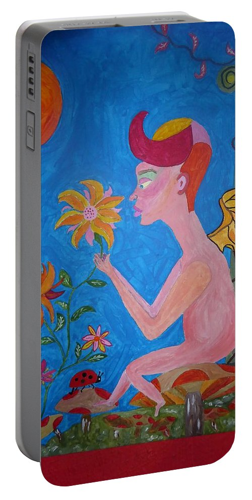 Cherub Fairy Magical Fantasy Portable Battery Charger featuring the painting Cherub by Peter J Saville-Bradshaw