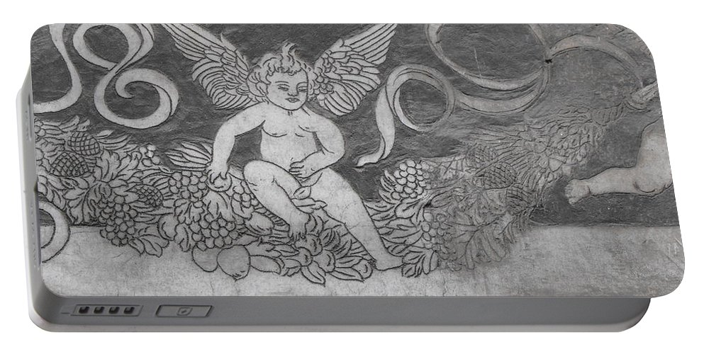 Cherub Portable Battery Charger featuring the photograph Cherub Stone Graffiti 1 by Ginger Repke