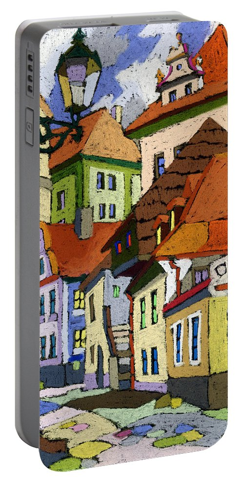Pastel Portable Battery Charger featuring the painting Chesky Krumlov Masna Street 1 by Yuriy Shevchuk