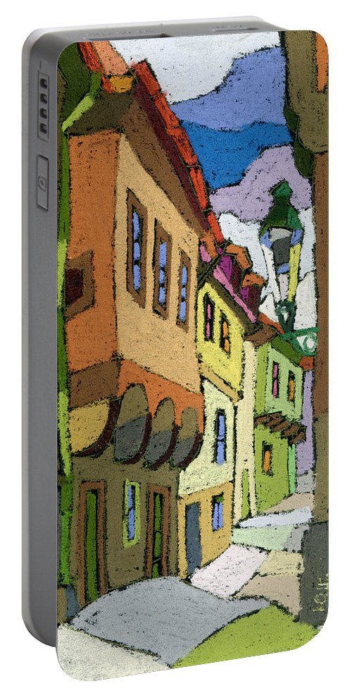 Pastel Portable Battery Charger featuring the painting Chesky Krumlov Street Nove Mesto by Yuriy Shevchuk