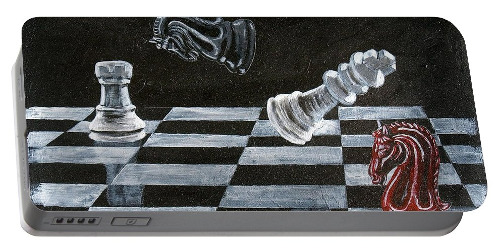 Chess Portable Battery Charger featuring the painting Chess by Richard Le Page