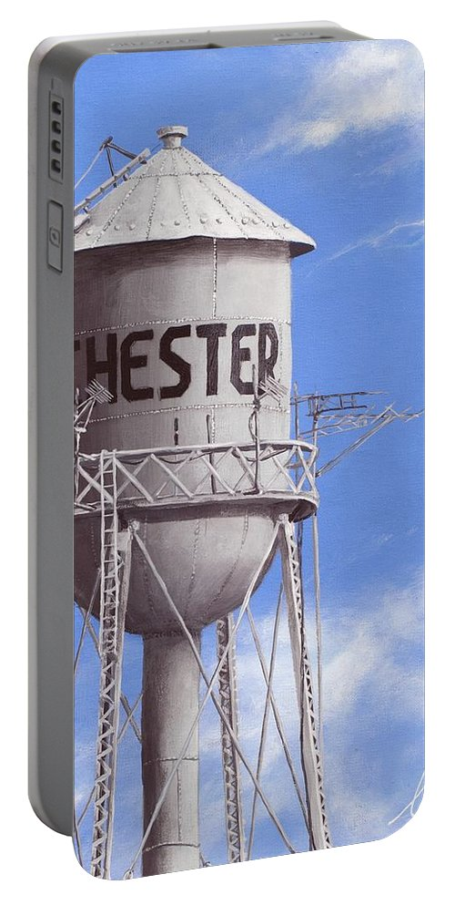 Water Tower Portable Battery Charger featuring the painting Chester Water Tower Ne by Cindy D Chinn