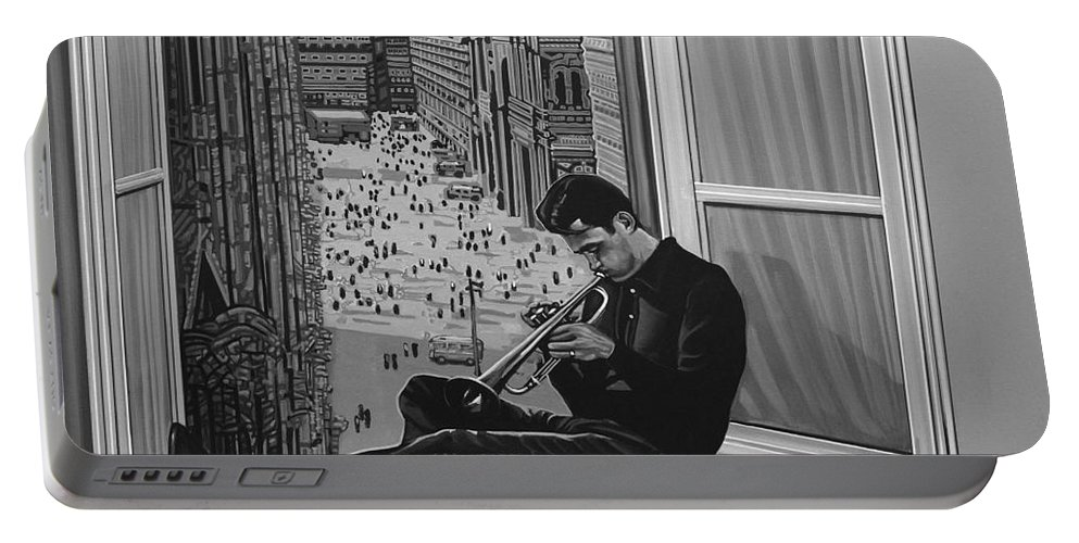 Chet Baker Portable Battery Charger featuring the painting Chet Baker by Paul Meijering