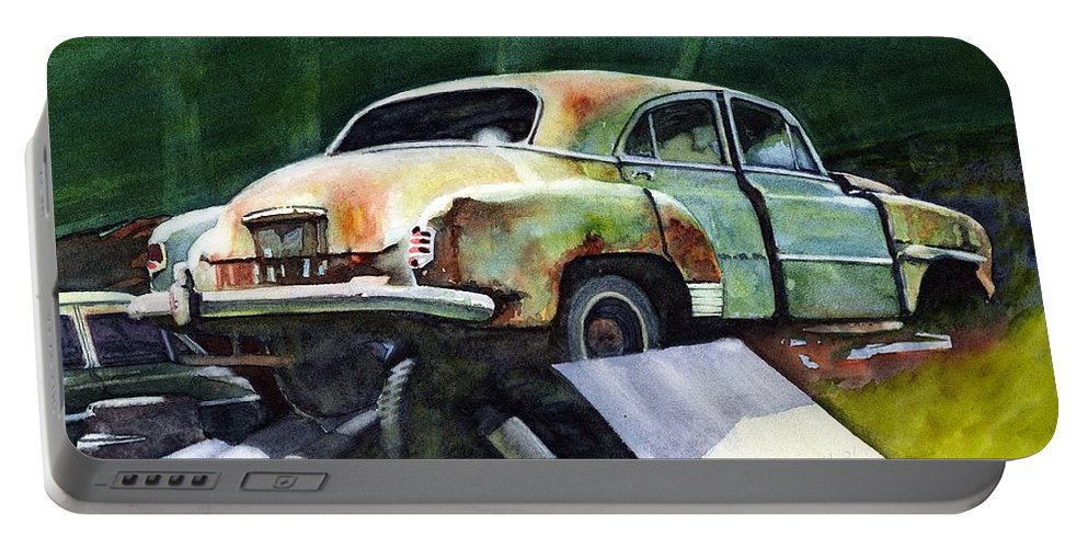 Chev Portable Battery Charger featuring the painting Chev At Rest by Ron Morrison