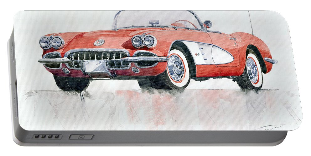 Watercolor Portable Battery Charger featuring the painting Chevrolet Corvette C1 1960 by Yuriy Shevchuk