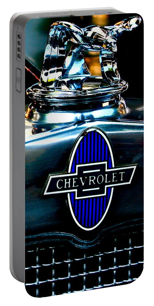 Photograph Of Chevrolet Hood Ornament Portable Battery Charger featuring the photograph Chevrolet Hoodie by Gwyn Newcombe