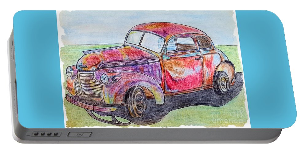 Car Portable Battery Charger featuring the drawing Chevy by Lisa Pfeiffer