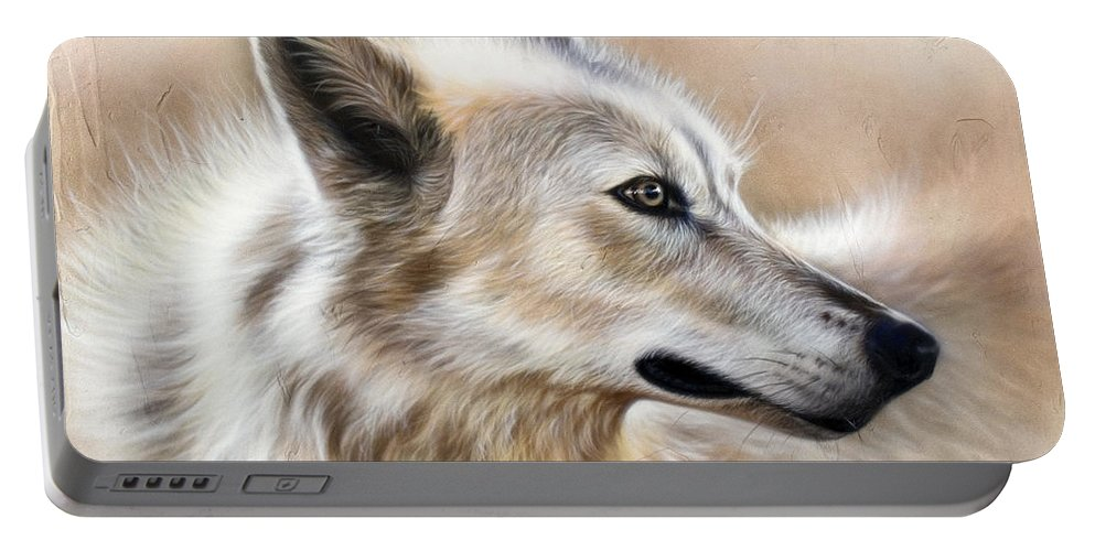 Acrylic Portable Battery Charger featuring the painting Cheyenne by Sandi Baker