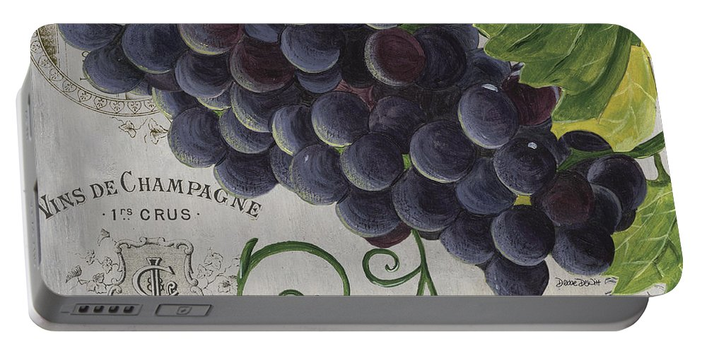 Grapes Portable Battery Charger featuring the painting Vins de Champagne 2 by Debbie DeWitt