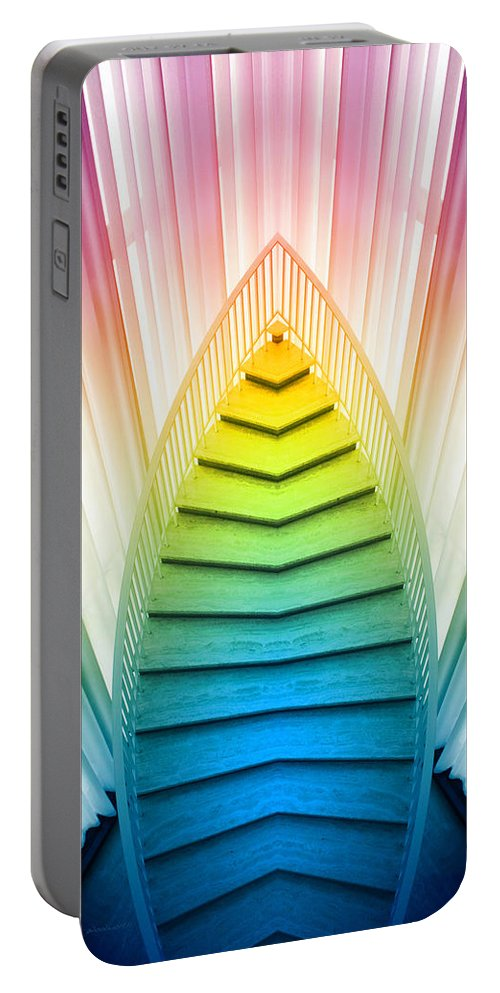 Art Institute Portable Battery Charger featuring the photograph Chicago Art Institute Staircase Pa Prism Mirror Image Vertical 02 by Thomas Woolworth