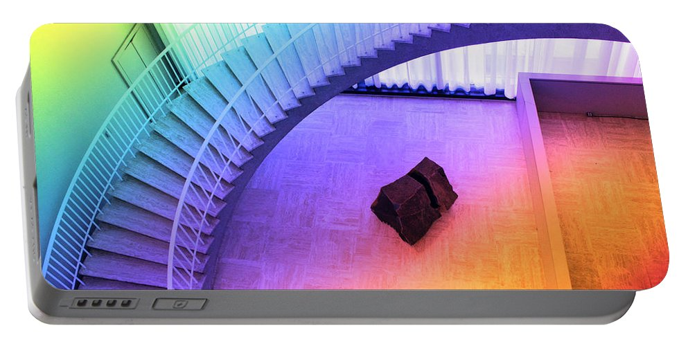 Art Institute Portable Battery Charger featuring the photograph Chicago Art Institute Staircase Pa Prismatic by Thomas Woolworth