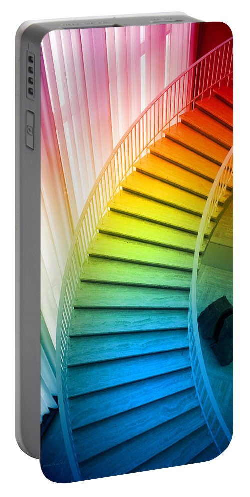 Art Institute Portable Battery Charger featuring the photograph Chicago Art Institute Staircase Pa Prismatic Vertical 02 by Thomas Woolworth
