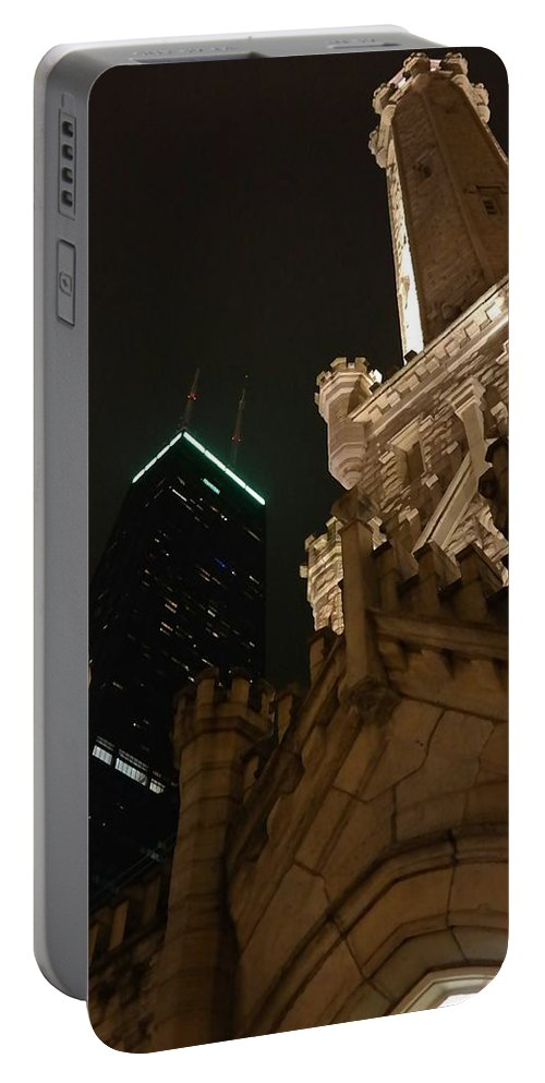 Night Sky Portable Battery Charger featuring the photograph Chicago At Night by Josh Coleman