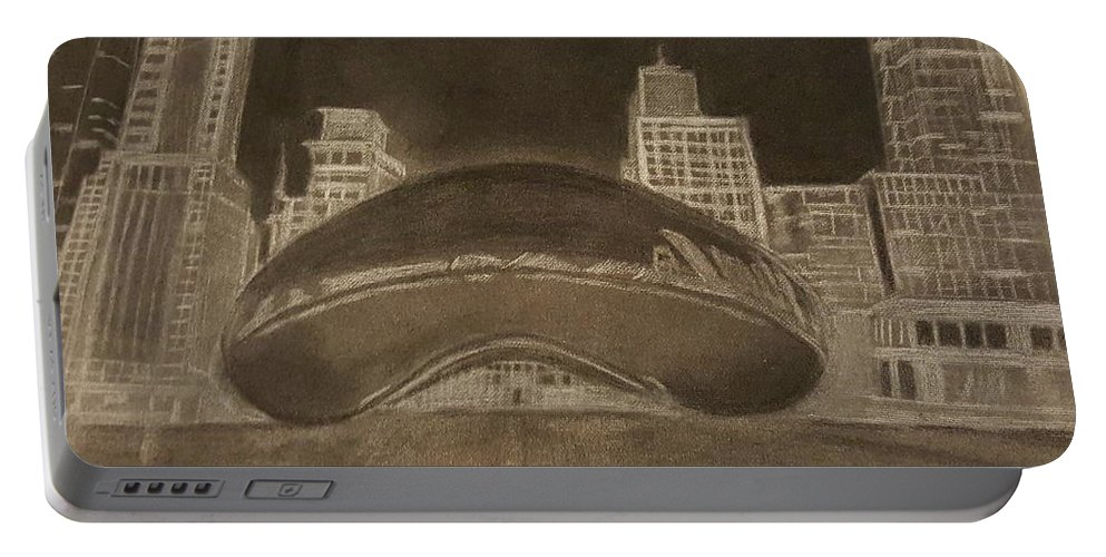 Bean Portable Battery Charger featuring the drawing Chicago Bean by Tana Coleman
