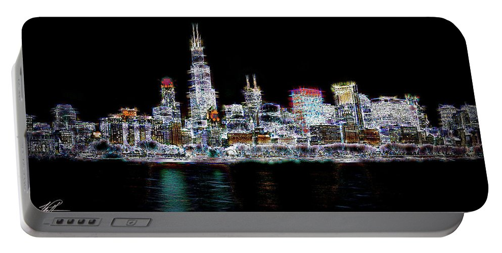 Chicago Portable Battery Charger featuring the photograph Chicago By Night by Thomas Patterson