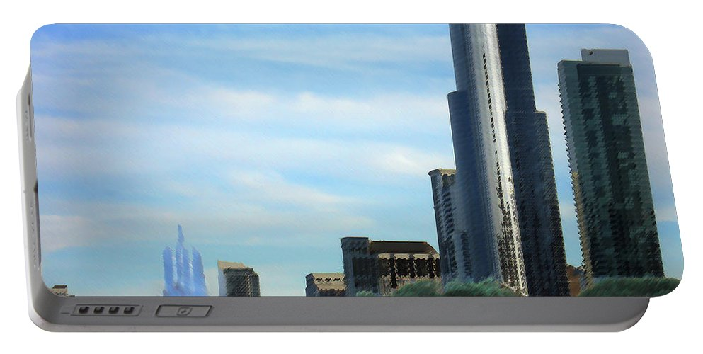 City Portable Battery Charger featuring the digital art Chicago cityscape by Steve Karol