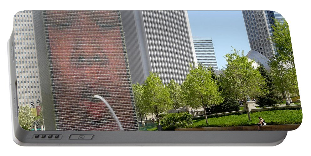 Chicago Portable Battery Charger featuring the photograph Chicago Crown Fountain 8 by Jean Macaluso