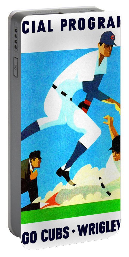 Chicago Cubs Portable Battery Charger featuring the painting Chicago Cubs 1970 Program by John Farr