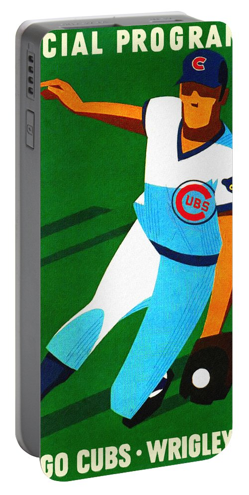 Chicago Cubs Portable Battery Charger featuring the painting Chicago Cubs 1972 Official Program by John Farr