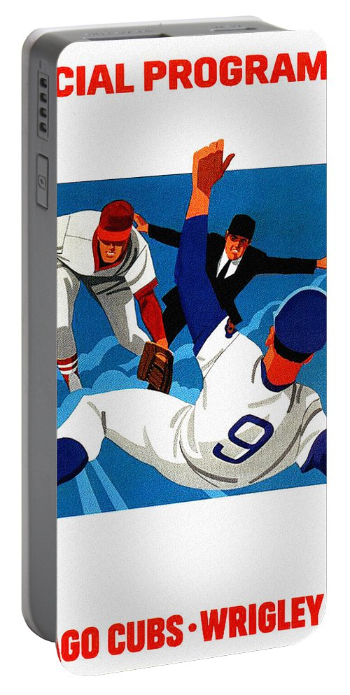 Chicago Cubs Portable Battery Charger featuring the painting Chicago Cubs 1974 Program by John Farr