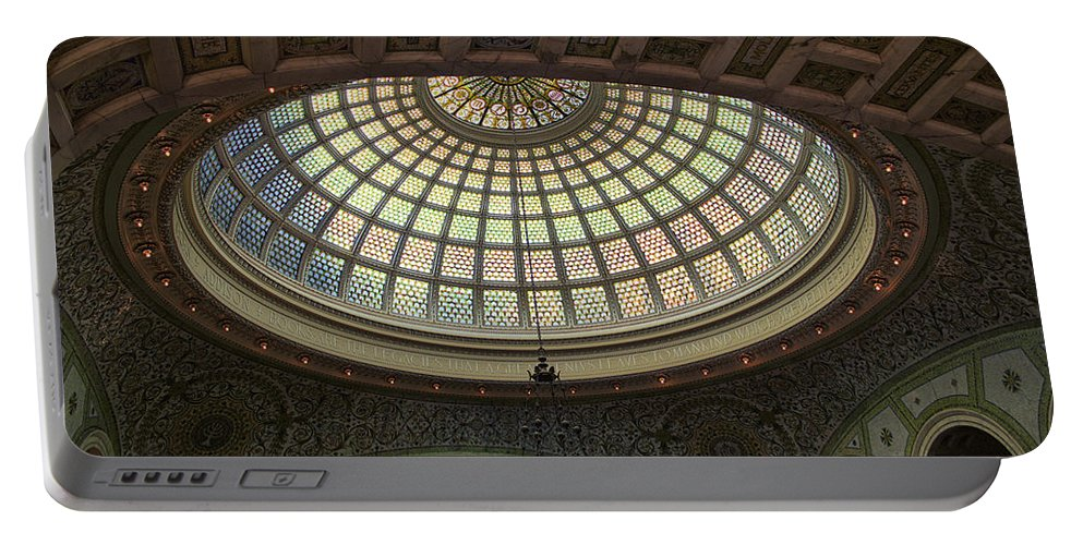 Chicago Cultural Center Portable Battery Charger featuring the photograph Chicago Cultural Center Tiffany Dome 01 by Thomas Woolworth