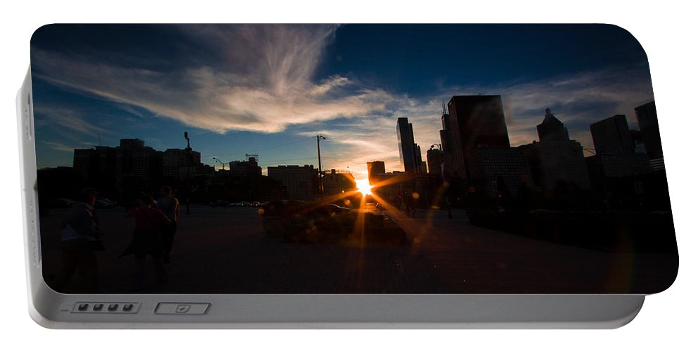 Portable Battery Charger featuring the photograph Chicago-henge Fall2015 by Sue Conwell