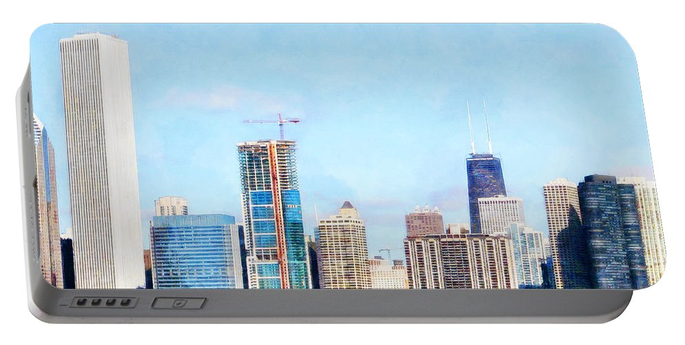 Wingsdomain Portable Battery Charger featuring the photograph Chicago Illinois Skyline Painterly Triptych Plate Three Of Three 20180516 by Wingsdomain Art and Photography