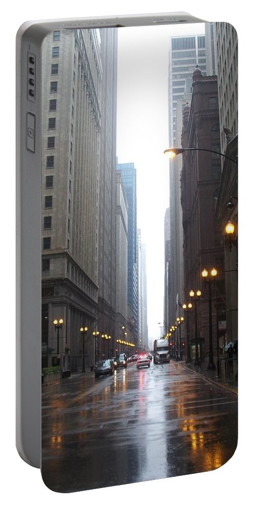 Chicago Portable Battery Charger featuring the photograph Chicago In The Rain 2 by Anita Burgermeister