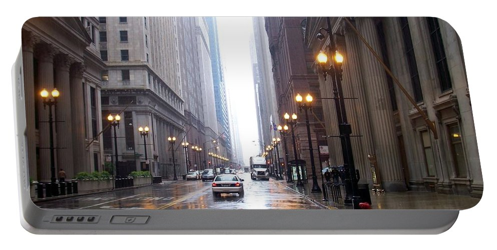 Chicago Portable Battery Charger featuring the photograph Chicago In The Rain by Anita Burgermeister